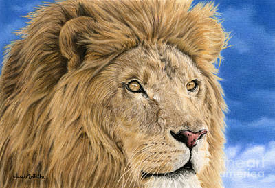 African Animals Drawing - The King by Sarah Batalka