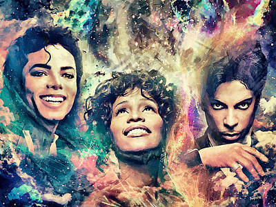 Michael Jackson Digital Art - The King The Queen The Prince by Sampad Art