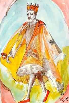 Painting - The King.chess Art. White King. Chess Piece. History Of Chess Map  by Vali Irina Ciobanu