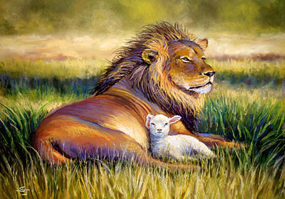 Lion And The Lamb Pastel - The Kingdom Of Heaven by Susan Jenkins