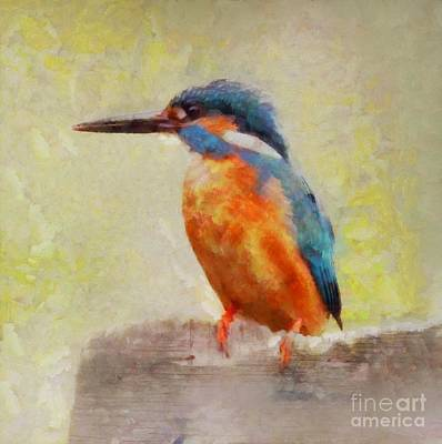 Kingfisher Painting - The Kingfisher By Sarah Kirk by Sarah Kirk