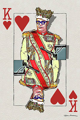 Digital Art - The Kings - Elton John by Serge Averbukh