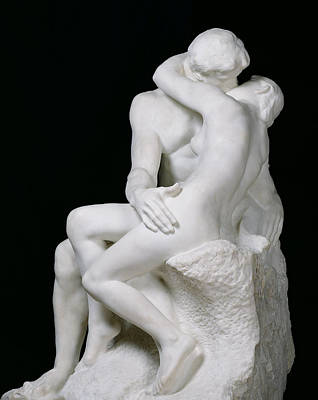 White Marble Photograph - The Kiss by Auguste Rodin