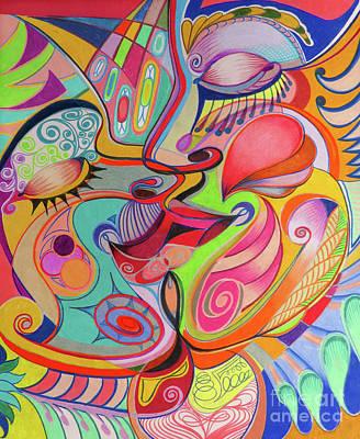 Gay Fantasy Drawing - The Kiss  by David Roper