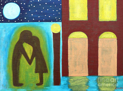 Moon Abstractions Painting - The Kiss Goodnight by Patrick J Murphy