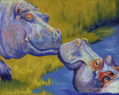 Grass Pastel - The Kiss - Hippos by Tracy L Teeter