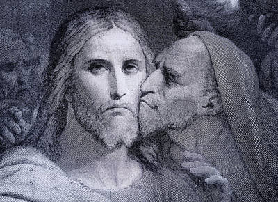 Jesus Drawing - The Kiss. Judas Iscariot Kisses Jesus by Vintage Design Pics