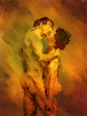 Kisses Digital Art - The Kiss by Kurt Van Wagner