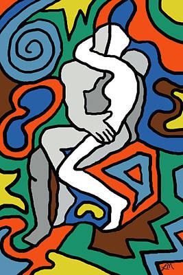 Figure Digital Art - The Kiss Imagined by Linda Mears