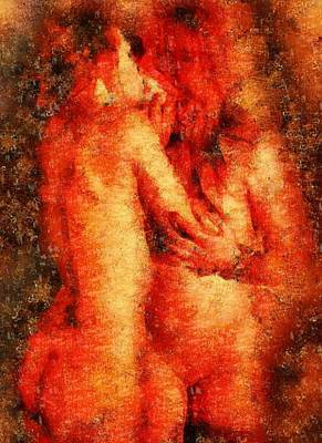 Pussy Painting - The Kiss by Mary Bassett