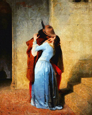 Couples Painting - The Kiss Of Hayez Revisited by Leonardo Digenio