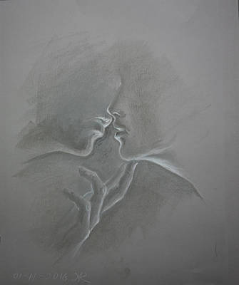 Sweet Touch Drawing - The Kiss by Aelita Arts