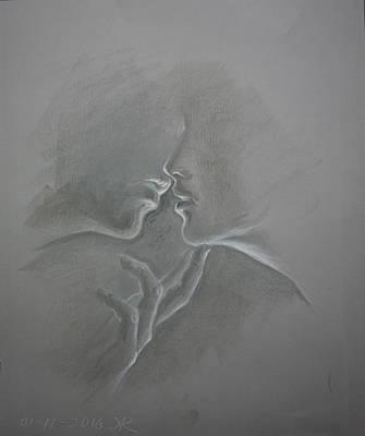 Sweet Kiss Drawing - The Kiss by Aelita Arts