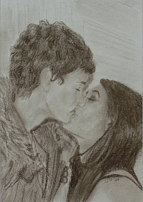 Drawing - The Kiss by Quwatha Valentine