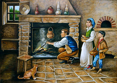 Painting - The Kitchen Fireplace by Tony Banos