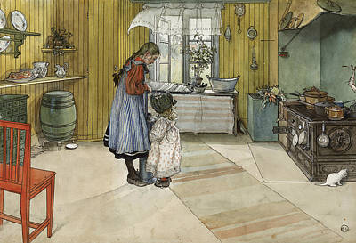 Painter Art Painting - The Kitchen. From A Home by Carl Larsson