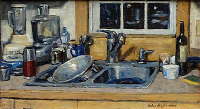 Brushy Painting - The Kitchen Sink by Thor Wickstrom