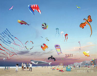 City Sunset Drawing - The Kite Festival Ocean City Md by Albert Puskaric