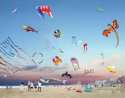 Drawing - The Kite Festival Ocean City Md by Albert Puskaric