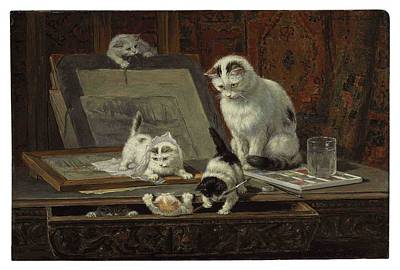 The Kitten Art Lesson Art Print by MotionAge Designs