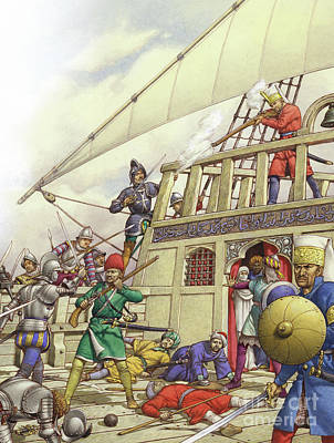 Boarding Painting - The Knights Of St John Seized Turkey's Finest Galleon, The Sultana by Pat Nicolle