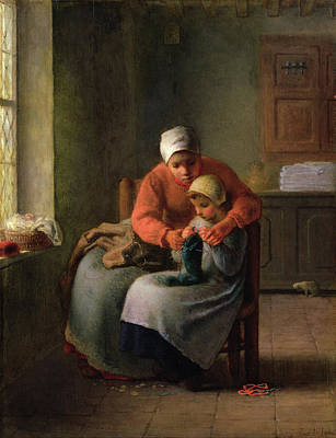 Indoor Painting - The Knitting Lesson by Jean-Francois Millet