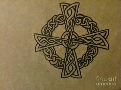 Celtic Cross Drawing - The Knotwork Cross by Brett Genda