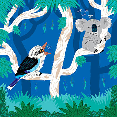 Koala Wall Art - Digital Art - The Koala And The Kookaburra by Oliver Lake