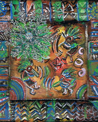 The Kokopelli Greenery Art Print by Anne-Elizabeth Whiteway