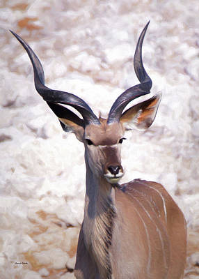 Digital Art - The Kudu Portrait 2 by Ernie Echols