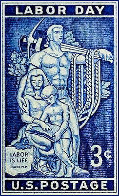 Austerity Painting - The Labor Day Stamp by Lanjee Chee