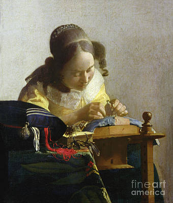 Lace Painting - The Lacemaker by Jan Vermeer