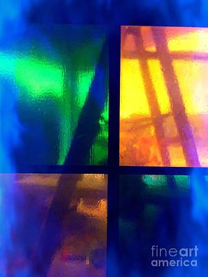 Photograph - The Ladder Behind The Stained Glass Window  by Justin Moore