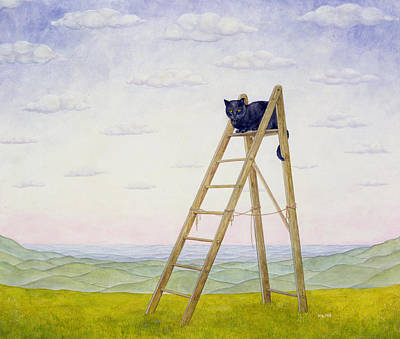 Black Top Painting - The Ladder Cat by Ditz