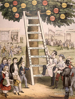 Apple Drawing - The Ladder Of Fortune To The American Dream by American School