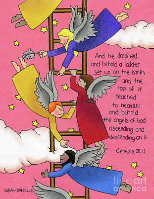 Angels Drawing - The Ladder by Sarah Batalka