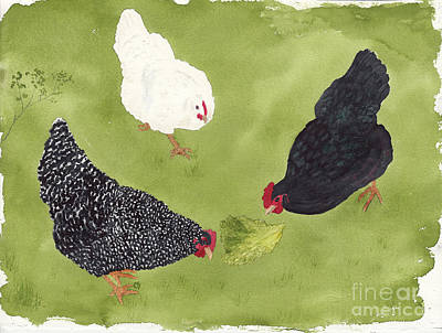 Painting - The Ladies Love Salad Three Hens With Lettuce by Conni Schaftenaar