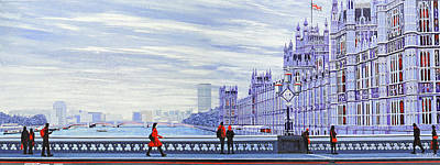 Union Bridge Painting - The Lady In Red by Mark Woollacott