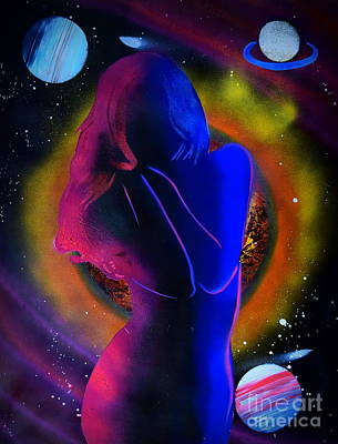 Painting - The Lady In Space by Justin Moore