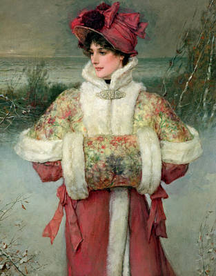 Embroidered Painting - The Lady Of The Snows by George Henry Boughton