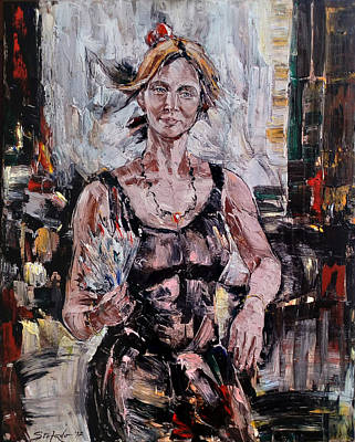 Painting - The Lady With The Fan by Stefano Popovski