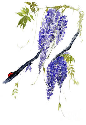 The Ladybird And The Wisteria Art Print by Sibby S