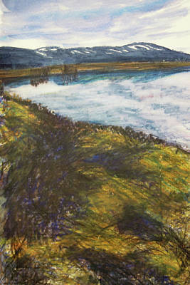 Early Spring Drawing - The Lake As Spring Arrives by Susan Singer