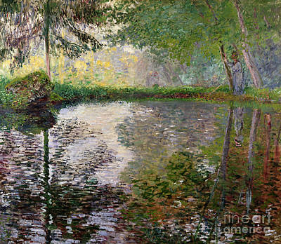 By Women Painting - The Lake At Montgeron by Claude Monet