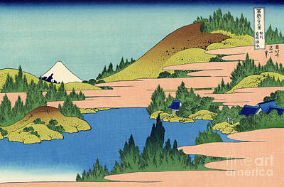 Shrine Painting - The Lake Of Hakone In The Segami Province by Hokusai