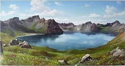 North Korea Painting - The Lake Of Heaven On Mt. Baekdu by Ghanglim Choi