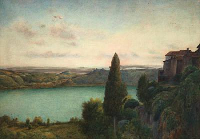Italian Landscape Painting - The Lake Of Nemi by Marie Spartali Stillman