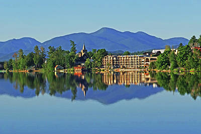 Photograph - The Lake Placid Waterfront  Reflection Lake Placid New York Adirondacks Church by Toby McGuire