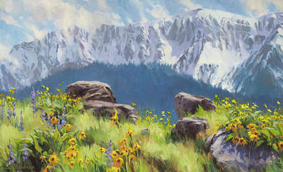 Yellow Daisy Wall Art - Painting - The Land Of Chief Joseph by Steve Henderson