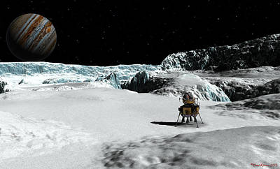Enceladus Digital Art - The Lander Ulysses On Europa by David Robinson